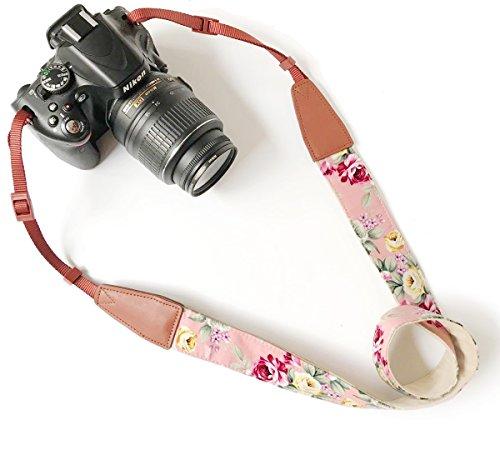 Alled Tracolle per Macchine Fotografiche,Cinghia Fotocamera Bohemia Vintage Spalla Cinghia Reflex per DSLR SLR Nikon Canon Sony Lumix Olympus Samsung Pentax Fujifilm Universale (Pelle Stampa Rosa)