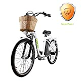 NAKTO 26' City Electric Bicycle Assisted Bicycle for Women with Removable 36V 10A Large Capacity Lithium Battery and Charger