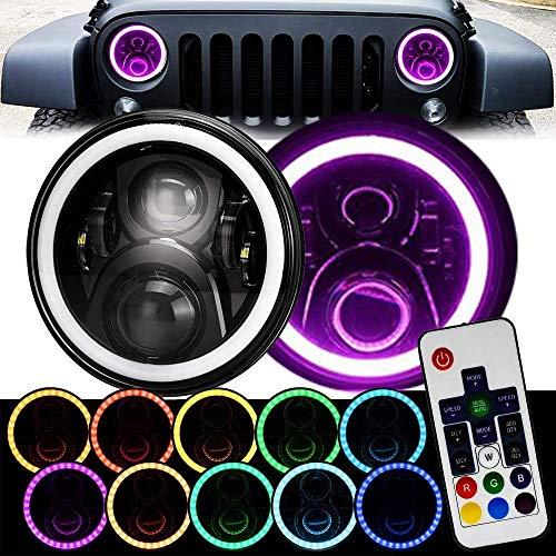 7 Inch Black Remote RGB SMD LED Halo Headlights for Jeep Wrangler JK TJ LJ Hi/Lo Beam with DRL Halo Ring Angel Eyes 2PCS H6014 H6015...