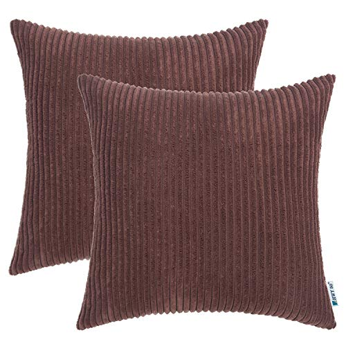 HWY 50 Decorative Throw Pillow Covers Set 18X18 inch, for Couch Sofa Living Room Bedroom, Corduroy Soft Cozy Solid Square Throw Pillows Case Cushion Cover, Pack of 2, Espresso Striped Decoration