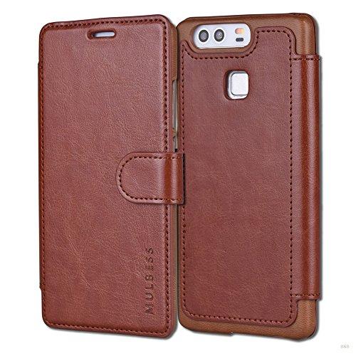 Mulbess Handyhülle für Huawei P9 Hülle Leder, Huawei P9 Handy Hülle, Layered Flip Handytasche Schutzhülle für Huawei P9 Case, Braun