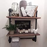Industrial Pipe Bathroom Shelf with Towel Bar,Rustic Bathroom Shelves Wall Mounted,2 Layer...