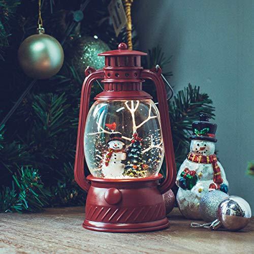 SUNFACE 8.3' Snowman Christmas Tree Scene Christmas Snow Globe Musical Water Lantern Light – Red