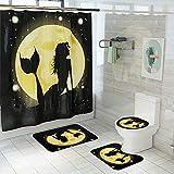 LAOSHIZI Impresión de Dibujos Animados alfombras de baño Creatividad 4 Piezas Alfombra de Contorno en Forma de U y Cubierta del Asiento del Inodoro Cortina de la Ducha Impermeable Sirena 1