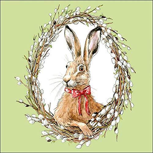 Bunny Portrait green - Servietten 33x33 cm