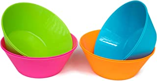 Honla 52 Oz Large Cereal Bowls,Big Salad Bowls,Set of 8 Plastic Bowls in 4 Assorted Colors,Unbreakable and Flexible,Red,Orange,Blue,Green