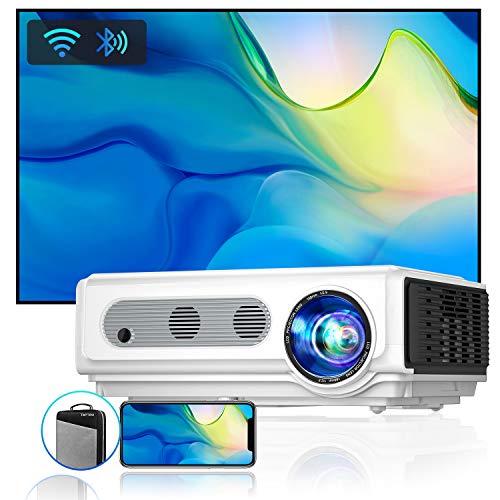 Vidéoprojecteur WiFi Bluetooth Full HD 1080P, 7500LM TOPTRO Rétroprojecteur Supporte 4K ,Projecteur Compatible iPhone Android Téléphone, Zoom X/Y, 300'' Display Home Cinéma Home Cinéma Outdoor Film