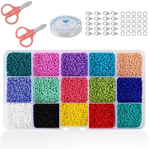 SGDD 7500 Cuentas de Colores 3mm Mini Cuentas y Abalorios Cristal para DIY Pulseras Collares Bisutería (15 Colores)
