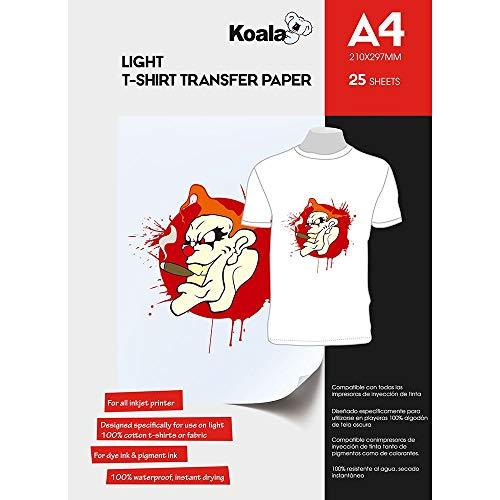 KOALA Inkjet Transferpapier zum Aufbügeln für helles und weißes T-Shirt/Textilien, DIN A4, 25 Blatt. Für Tintenstrahldrucker