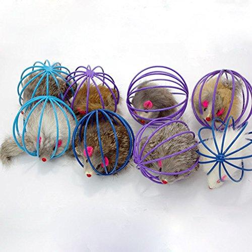 jj Store Pet gattino gatto divertente gioco giocattolo falso topo in gabbia–colore casuale