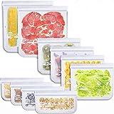 Korins Bolsas de Silicona Reutilizables (10 Piezas) Bolsas Reutilizables para Congelar Alimentos Bolsas Reutilizables para Alimentos Sellado Fuerte Sándwiches de Frutas y Verduras Sin BPA