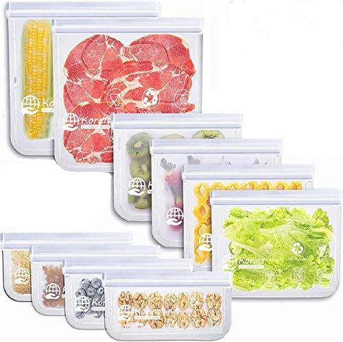 Korins Bolsas de Silicona Reutilizables,10 Piezas Bolsas Congelar Reutilizable,Bolsas Reutilizables para Almacenamiento de Alimentos para Fruta Sándwiches Verduras,1.5mm Súper Grueso Sello Sin BPA