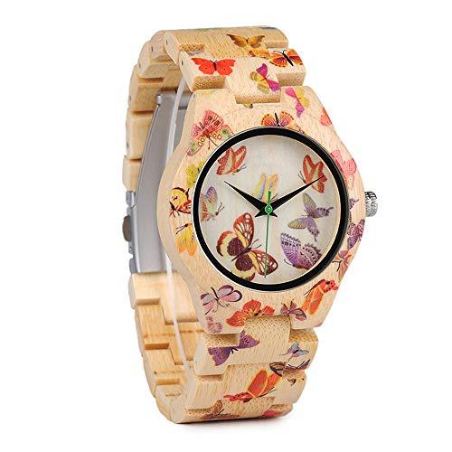 ZUKN Reloj De Madera para Mujer Reloj De Cuarzo Creativo con Diseño De Estampado De Mariposa Creativo Reloj De Pulsera Casual Simple con Banda De Madera De Bambú Y Caja De Regalo De Madera