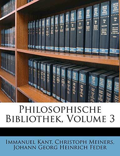Philosophische Bibliothek, Volume 3