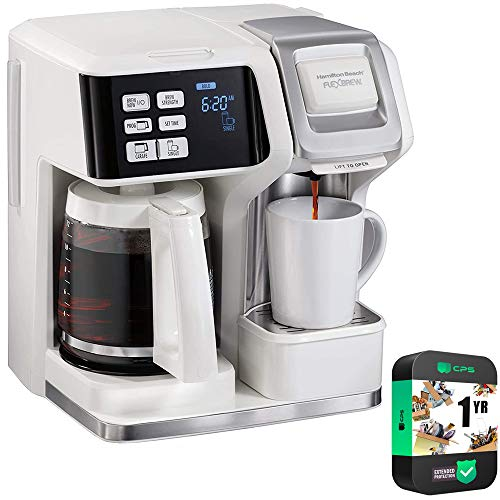 Hamilton Beach 49947 FlexBrew 2 Way Coffee Maker: Single-Serve or 12 Cup Pot, White Bundle with 1 Year Extended Protection Plan