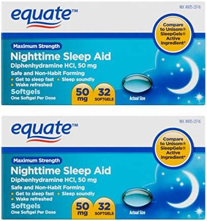 Equate - Nighttime Sleep Aid 50 mg, Maximum Strength, 32 Softgels (Compare to Unisom SleepGels)