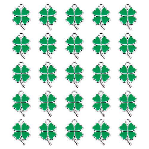 VALICLUD 25 colgantes de trébol de cuatro hojas con esmalte y cuentas de trébol para crear joyas, colgantes para manualidades, collares, pendientes, pulseras y tobilleras. Verde 1 2x2.5 cm
