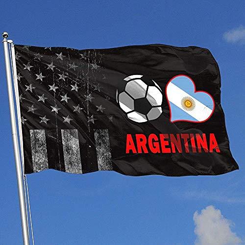 Elaine-Shop buitenvlaggen Worn-Out USA vlag voetbal hart voetbal Argentinië vlag 4 x 6 ft vlag voor binnendecoratie sport fanbal basketbal baseball hockey
