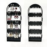 KINLANG - Colgador Plegable de 2 a 6 Paneles, Organizador de Joyas, Pendientes, Cadenas, Expositor, Color Negro, Negro, 2Panels