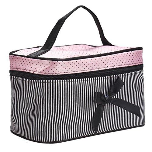 Culater Beauty Case, piazza dell'arco della banda di raso Cosmetic Bag sacchetto di trucco (Nero)