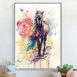 BailongXiao Acuarela Caballo Colorido Lienzo Pintura Mural Cartel para Sala Comedor decoración del hogar,Pintura sin Marco,50x75cm