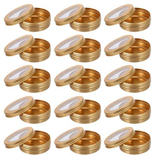 Minkissy 24 Unidades de Latas de Aluminio de 100Ml Latas de Metal Redondas con Rosca Crema de Maquillaje Vacía Frascos de Bálsamo Labial Cajas de Muestra Cosméticas para Especias Vela Té