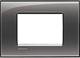 BTicino Living Light LNA4803AC Plate Square 3-Switch, Steel, Grey, LNA4803KF
