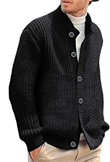 FUERI Mens Cable Knit Cardigan Knitted Sweater with Button Contrast Color Block Chunky Knitted Jacket Warm Outwear
