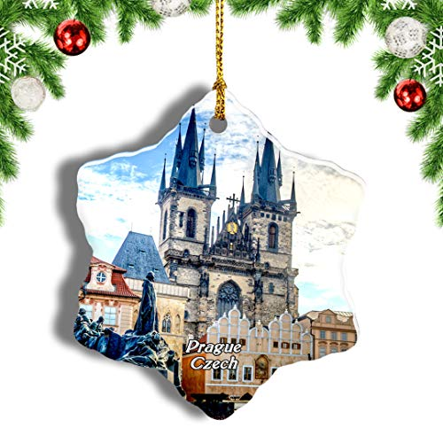 Weekino Czech Old Town Square Prague Christmas Ornament Travel Souvenir Tree Hanging Pendant Decoration Porcelain 3' Double Sided