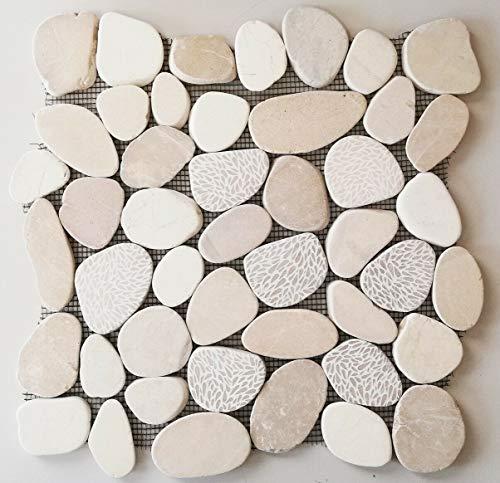 Mozaïek tegel kiezel gesneden mix wit voor muur keuken wandbekleding tegelspiegel bekleding   10 matten