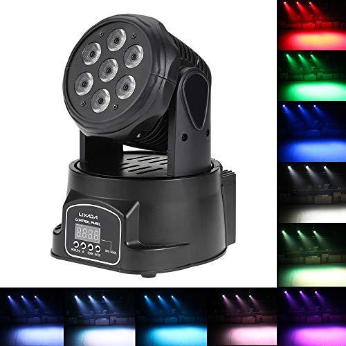 Mini Luz de Cabeza Móvil, Lixada 7x10W DMX-512 Iluminación de Escenario 4 In 1 RGBW 9/14 Canales,4 Modos de Control para Party Disco DJ