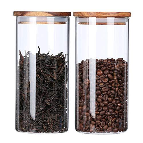 KKC Kaffeebohnen Behälter Glas für 1kg Bohnen Luftdicht - Kaffeedose Glas Rund mit Holzdeckel - Kaffee Aufbewahrung Glas für 1kg bohnen - 1450ml 2er