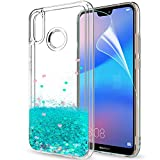 LeYi Funda Huawei P20 Lite Silicona Purpurina Carcasa con HD Protectores de Pantalla Transparente Cristal Bumper Telefono Gel TPU Fundas Case Cover para Movil P20 Lite, Verde
