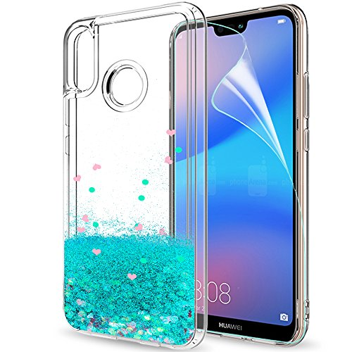 LeYi Funda Huawei P20 Lite Silicona Purpurina Carcasa con HD Protectores de Pantalla Transparente Cristal Bumper Telefono Gel TPU Fundas Case Cover para Movil P20 Lite ZX Verde