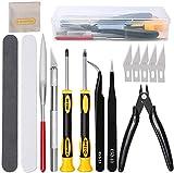 16Pcs Outils de modélisme Gundam Kit d'outils de construction de passe-temps professionnel Modélisateur d'outils de base Ensemble d'artisanat pour la construction, la réparation de modèles Gundam