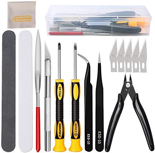 16Pcs Outils de modélisme Gundam Kit d'outils de construction de passe-temps professionnel d'outils de base Ensemble d'artisanat pour la construction, la réparation de Modèles Gundam