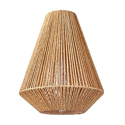 HSH Leuchten - Pantalla redonda para lámpara de techo (pantalla de papel reciclado, material reciclado, apta para lámpara colgante E27, diámetro 33 cm, altura 43 cm, sin bombilla)