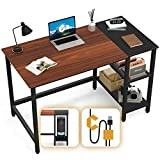 CubiCubi Computer Home Office Desk, 47 Inch Small Desk Study Writing Table with Storage Shelves, Modern Simple PC Desk with Splice Board, Espresso and Black