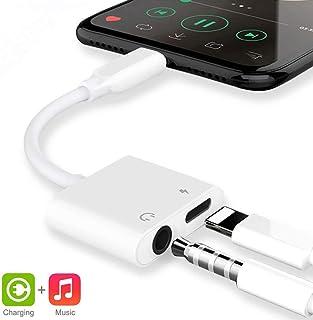iPhone7/iPhone8 /iPhoneXイヤホン 変換ケーブル ヘッドホンジャック 2in1 ライトニング3.5mm端子 充電/音楽再生/高音質 【IOS12対応】アップル純正品素材やチップを採用
