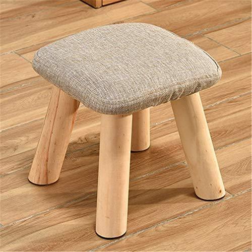 ZXJUAN Mode eenvoudige Nordic stijl huishouden decoratie van houten kruk met afneembare en wasbare overtrek hout lage kruk rechthoekige stoel kruk stoffen bekleding