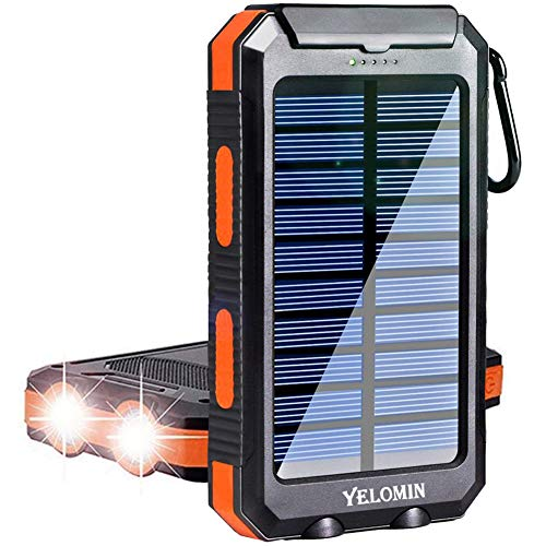Solar Charger,Yelomin 20000mAh Portable Outdoor Mobile Power Bank,Camping External Backup Battery Pack Dual USB 5V 1A/2A Outputs with SOS Function & Compass