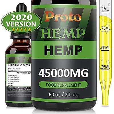 PROTOHEMP Hemp Natural Oil, Vegan Friendly,Powerful Formula, 100% High Strength,100% Natural, GMP Standards(60ML-45000mg)