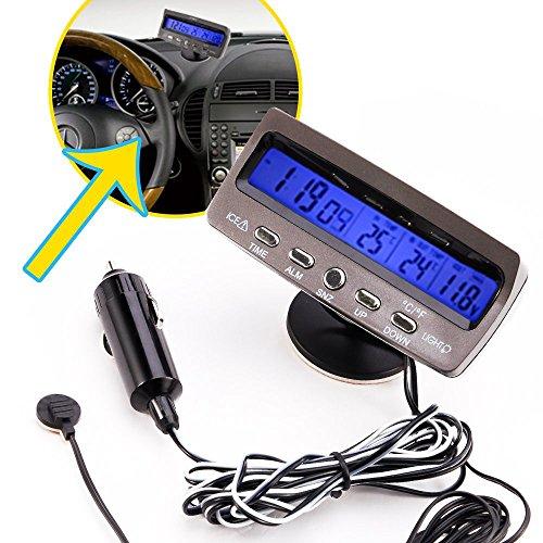 Spannungstester - SODIAL(R)12V LCD Car Digital Innen Aussen Thermometer Spannungstester Voltmeter Spannungsmesser KFZ PKW Datum Uhr Alarm Schwarz