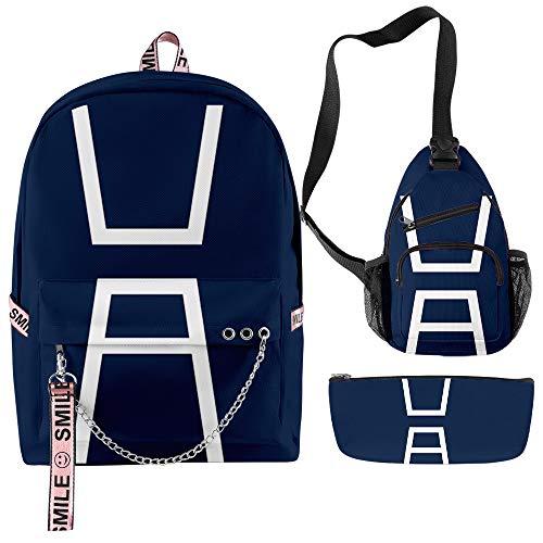 Boku No Izuku Midoriya Hero Academia Kid Backpack Schoolbag Suitable for teens students and unisex 3pcs (Style A)