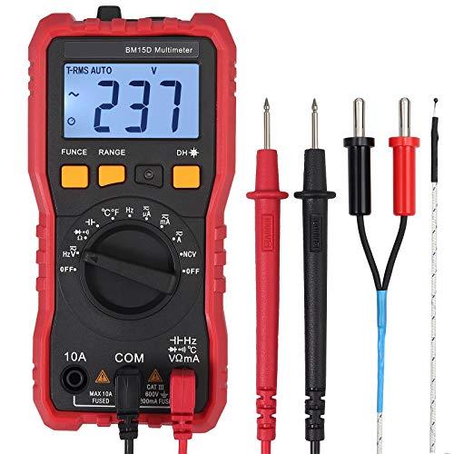 Neoteck Multímetro Digital Profesional 2000 Cuentas TRMS NCV ACVHz AC DC Corriente Voltaje Capacitancia Hz Temperatura Diodo Continuidad con 2 Soportes de Sonda y Luz de Flash