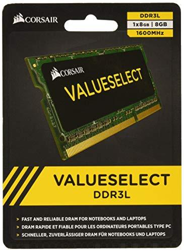 Corsair Value Select SODIMM 8GB (1x8GB) DDR3L 1600MHz C11 Memoria per Laptop/Notebook , Nero