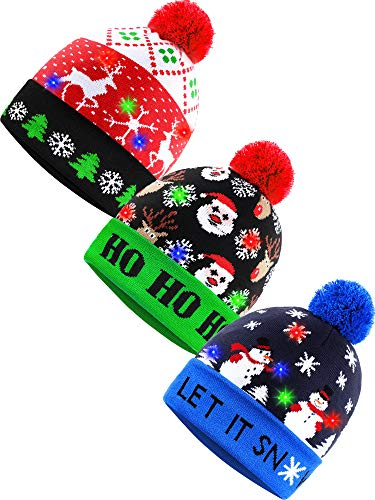 SATINIOR 3 Pieces LED Christmas Beanie Cap Light-up Christmas Knitted Hat Holiday Flashing Cap