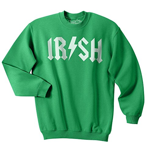 Irish Rockstar Funny Saint Patricks Day Shamrock Clover Sweatshirt for St Pattys (Green) - L