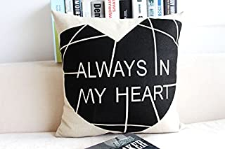 CayCay Cojín algodón Lino casa Nordic Moderno Almohada Minimalista Negro y Blanco Pluma en Forma de corazón Caballo Almohada sofá Almohada Caja de Almohadas 45x45cm 4