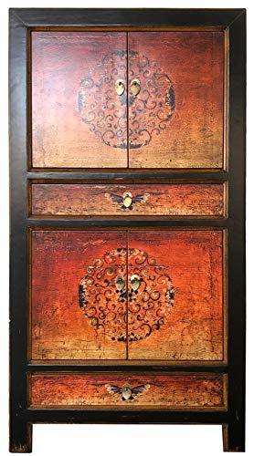 OPIUM OUTLET Armario, Comoda Alta, Chino, Coloreado Asiatico Vintage Oriental Madera, Dormitorio, Salon, Naranja